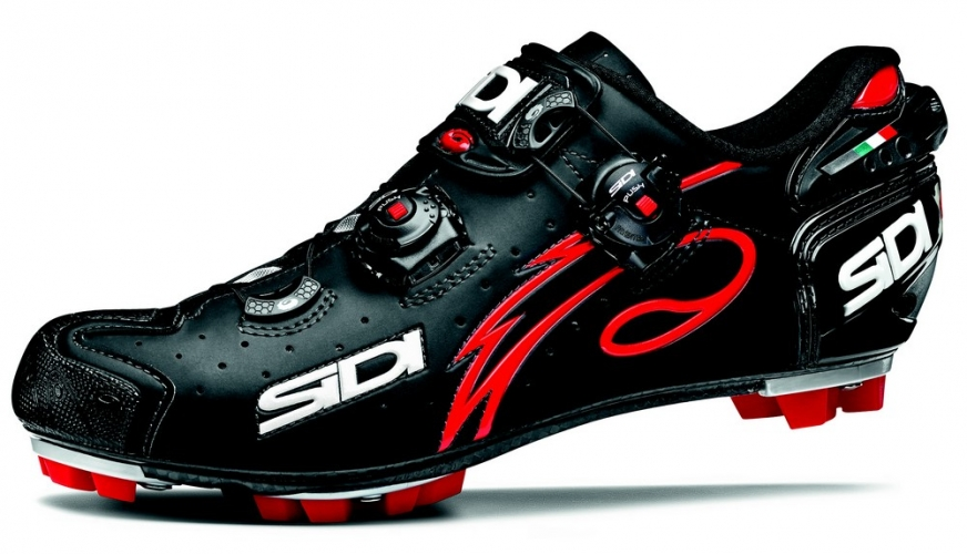 Tretry MTB Sidi DRAKO Carbon Matt Black-red